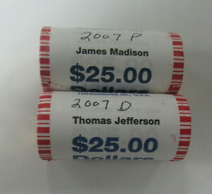 Two US ROLLS of UNC PRESIDENTIAL DOLLARS, J. MADISON & T. JEFFERSON  - $50 Face