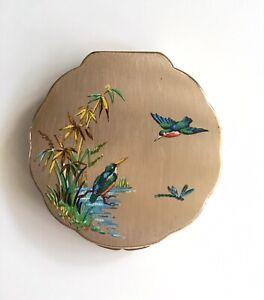 Vintage Iris Powder Compact Kingfishers Design With Mirror