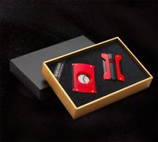 Cigar Lighter Cutter Set Singel Jet Flame Guillotine Double Blade Refillable