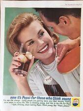 Vintage Print Ad 1962 Pepsi Cola Think Young - Cool Retro Soda Pop