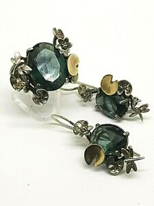 Designer Sterling Silver 925 Dragonfly Ring Earrings Set Gold Accents Blue Stone