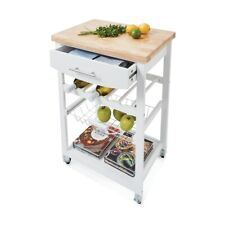 New Wooden Kitchen Food Utility Trolley Cart Drawer 2 Shelves Cabinet Rack SZ,,