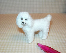 Miniature Furry White Poodle, Standing: DOLLHOUSE Miniatures 1/12 Scale