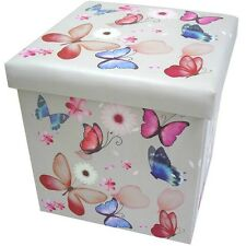Butterfly Folding Storage Box & Seat – Ottoman Faux Leather Collapsible  Toy Box