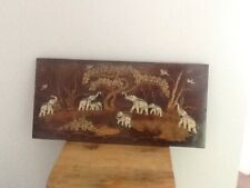 ANTIQUE HAND CRAVED PANEL OF ELEPHANTS