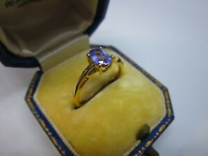 A Very Beautiful Ladies 9ct Yellow Gold AA Tanzanite Solitaire Ring Size L, 1.6g