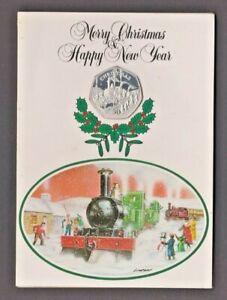 SILVER 1984 ISLE OF MAN CHRISTMAS 50p COIN - IoM MANX