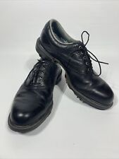 New listing Footjoy Dryjoys 53435 Men's Black Leather Saddle Soft Spike Golf Shoes Size 9.5