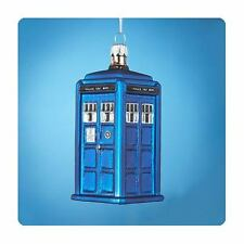 """Doctor Who 4.25"""" TARDIS Figural Glass Christmas Ornament. New in Box"""