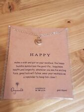 Dogeared HAPPY Necklace Charm Gold Dipped with chain UK SELLER