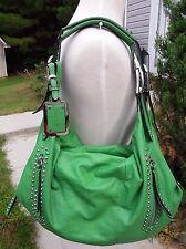 B. Makowsky Green Leather Slouchy Hobo Shoulder Bag Handbag with Studs
