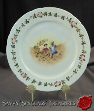 Antique Old Paris Porcelain Plate with Children at Play Hand Painted Rose Vine