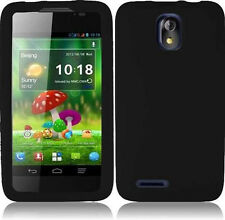 Cricket ZTE Engage LT N8000 SILICONE Soft Rubber Gel Skin Case Phone Cover Black