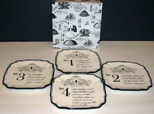 "Grasslands Road Art of Entertaining  "" ART OF MINGLING""  Tidbit Plates  Set / 4"