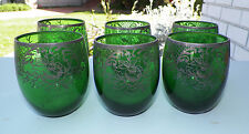 "SET OF SIX (6) GREEN STERLING OVERLAY DRINKING GLASSES SMALL 3 1/8"" TALL"