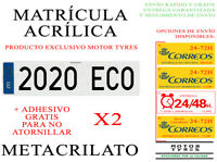 2 NUEVAS MATRICULAS ACRILICAS METACRILATO + ADHESIVO 52x11cm COCHE NIKKALITE