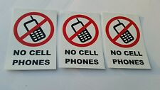 No Cell Phone No Mobile Phone Decal Vinyl Sticker  ( set of 3)   4inx6in each