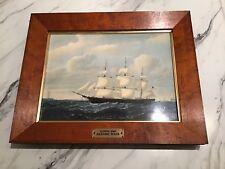 """Wedgwood Tile Vintage Framed Plaque Mint Clipper Ship """"Dashing Wave�"""