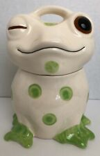 Novelty Ceramic Frog Cookie Jar 10 Inch White with Green Dots Unbranded