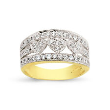 9CT GOLD LADIES CUBIC ZIRCONIA CZ BOMBAY HEARTS ETERNITY BAND WEDDING RING BOX
