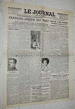 FAC-SIMILE A LA UNE LE JOURNAL 22/11 1916 MORT KAISER FRANZ-JOSEPH ÖSTERREICH