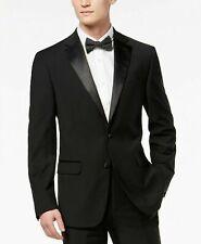 Calvin Klein Slim X-Fit Infinite Stretch Black Tuxedo Suit Jacket 38S Black