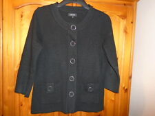 Black wool blend hip length cardigan with ¾ length sleeves, PAPAYA, size 10
