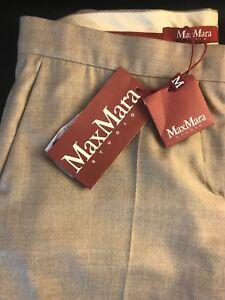 "BNWT MAXMARA STUDIO Women's Wool ""AZOTO"" Flared Leg Trousers UK 16  RRP £210"