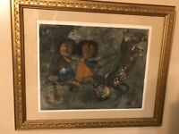 GRACIELA RODO BOULANGER B-1935 CHILDREN AND HORSES!   MODERNIST LITHOGRAPH!