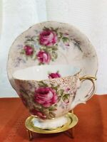 vintage saji japan fancy china footed tea cup and saucer set numbered 8/598