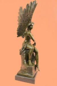 Roman Winged goddess Warrior of Victory Nike Signed Bronze Sculpture Figurine