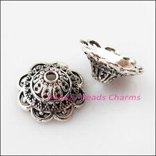 15Pcs Tibetan Silver Heart Flower End Bead Caps Connectors 16mm
