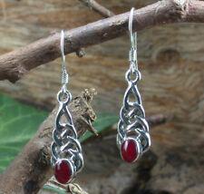925 Sterling Silber, Keltische Ohrhänger mit Karneol, rot, Ohrringe, Larp