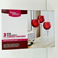 3 Red Glass Stem Goblets Candle Holders Christmas Decor Wedding Centerpiece New