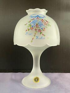 VTG WESTMORELAND CRYSTAL MIST GLASS FAIRY LAMP W/ BEST WISHES WEDDING BELLS