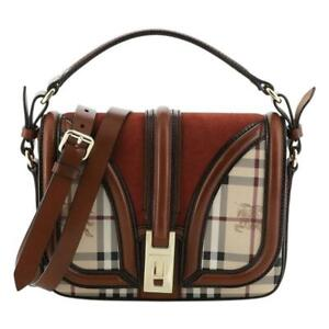 BURBERRY 'Brickfield' Haymarket Coated Canvas and Leather Small Crossbody Bag