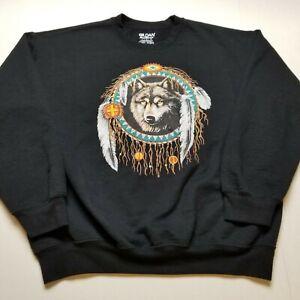 Native American Wolf Sweatshirt Mens L Black Dreamcatcher Crewneck ?37