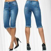 Damen Capri Jeans Shorts 3/4 Sommer Stretch Bermuda Casual Used Washed Design