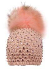 Alex Max unique designer embellished Fur Pon Pon Hat - Pink - Design From Floren