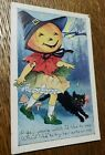 Antique Halloween Post Card - GAY YOUNG WITCH - Black Cat Postmarked 1922 Conn
