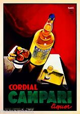 Campari Cordial Liqueur Italy Vintage Wine Food Advertisement Art Poster Print