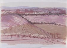 """Gail ENGLISH -  """"Autumn Ploughing"""" screenprint ABSTRACT LARGE LANDSCAPE - pink"""