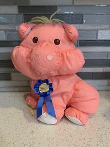 Retired 1997 Fisher Price Puffalump Pink Barnyard Pig with Blue Ribbon
