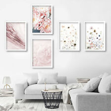 Set of 5 PRINT of Original PINK FLOWERS Photo & watercolour picture artwork