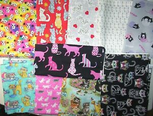 Fabric all cotton lot of 10 Cats Themed