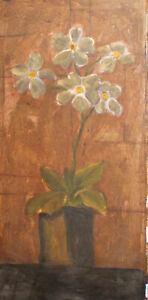 Vintage oil painting expressionist still life with flower signed