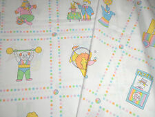 VINTAGE BABY TODDLER CIRCUS CLOWN CAT DOG ANIMAL ACTS FABRIC-QUILT-SEW 2 YD 30""