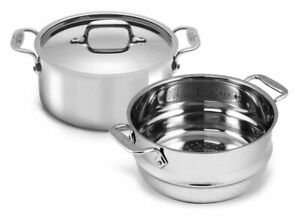 All-Clad 4303 Tri-ply Stainless Steel 3-qt Casserole with Steamer insert and Lid