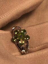 Vintage Genuine Faceted Green Peridot 925 Sterling Silver Cocktail Ring