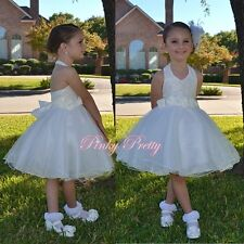 Ivory Floral Lace Halter Dress Wedding Flower Girl Bridesmaid Party Age 2-9y 283
